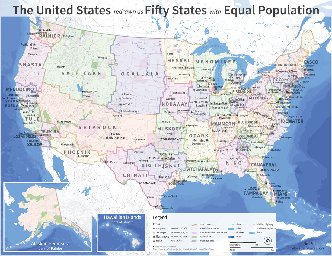 States with equal population.